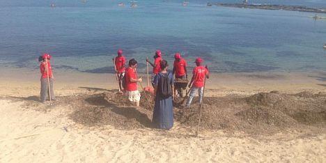 Migranti ripuliscono lo Scogliolungo dalla posidonia